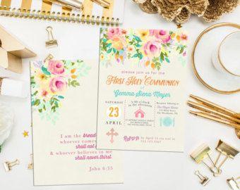 Ähnliche Artikel Wie Floral Erste Kommunion Einladung. Floral Taufe  Einladen. Benutzerdefiniertes Symbol Erste Heilige Kommunion. Symbol  Einladen.