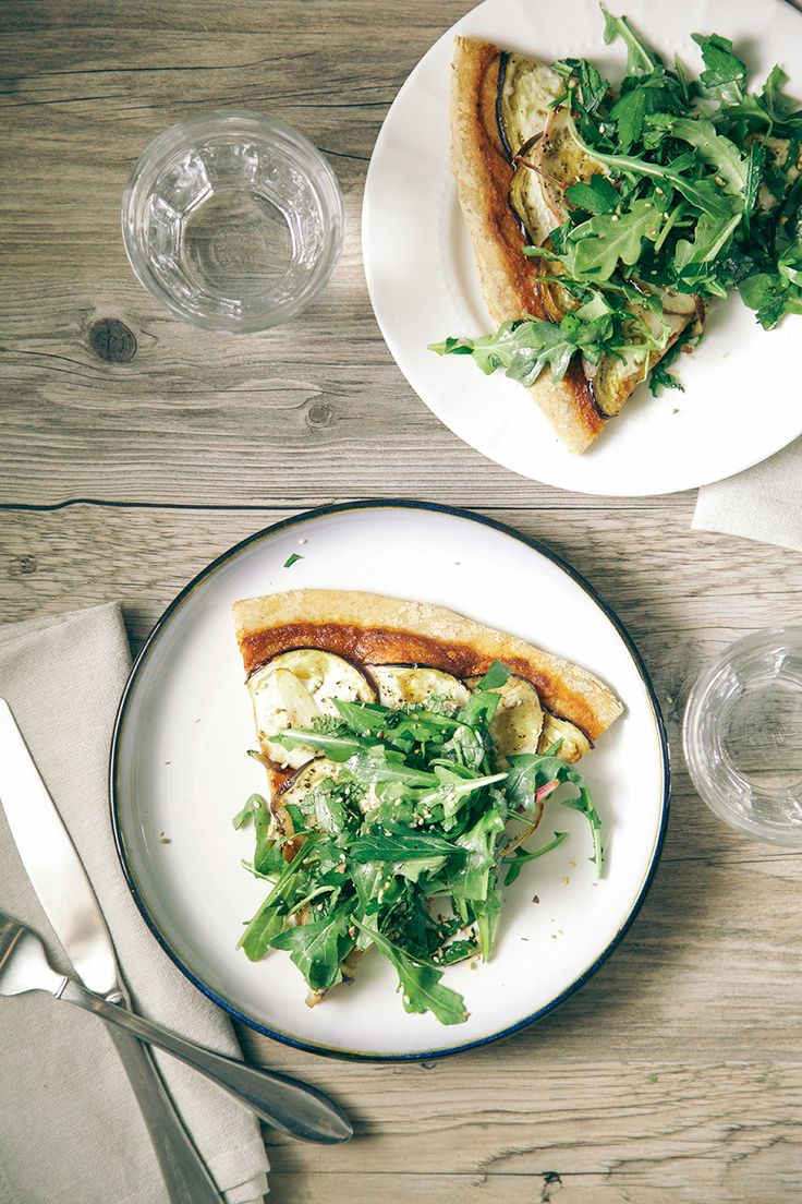 crispy eggplant + harissa flatbread with greens