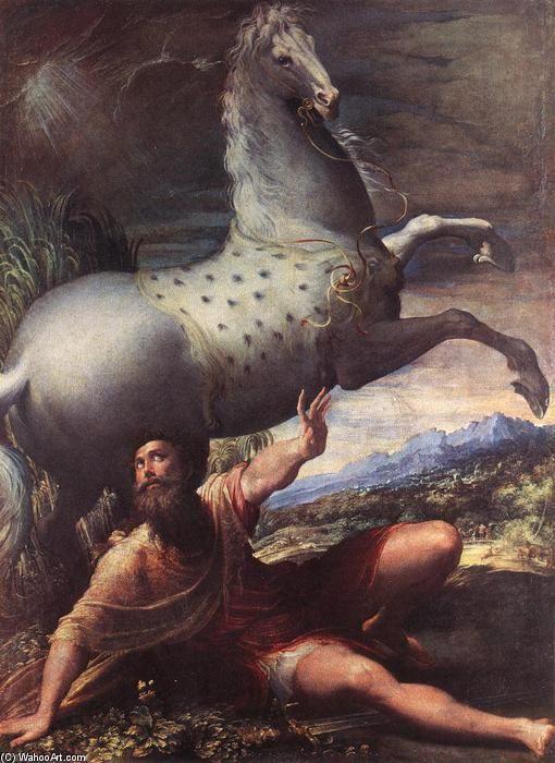 il conversione di san paul, olio su tela di Parmigianino (1503-1540, Italy)