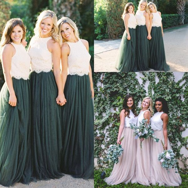 Two Tone Lace Crop Country Long Bridesmaid Dresses 2018 ...