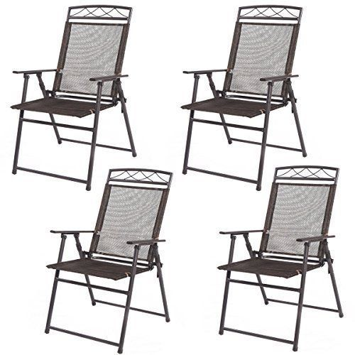 Outdoor Furniture Chairs Chair Set Of 4 Folding Steel Garden Yard Camping Pool #Kbrand