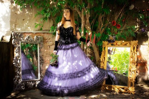 GOTH WEDDING SKIRT purple bridal maxi skirt by DarkDesireStore