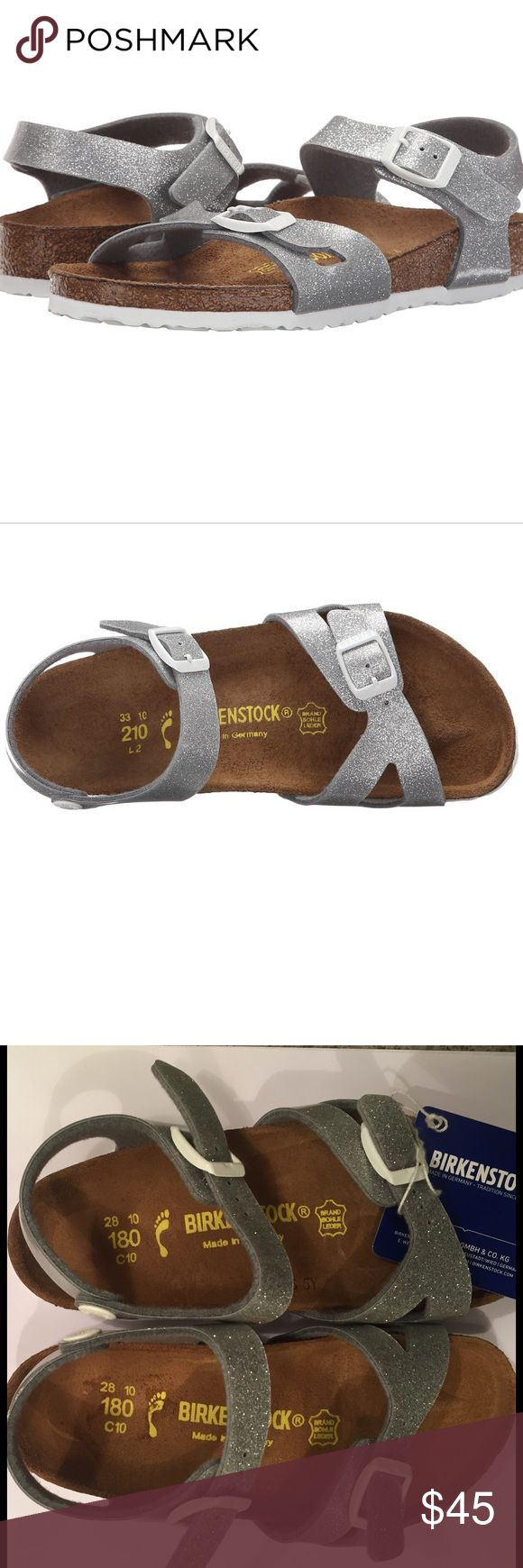 NEW! Toddler Infant Girls BIRKENSTOCK RIO Silver Brand new with tags!  BIRKENSTOCK Girls Infant & Toddler sized sandals.  RIO style in Magic Galaxy Silver.  Acrylic & polyamide uppers.  Two buckle.  Suede lined cork footbed.  EVA outsoul.  Super darling comfortable shoes! Birkenstock Shoes Sandals & Flip Flops