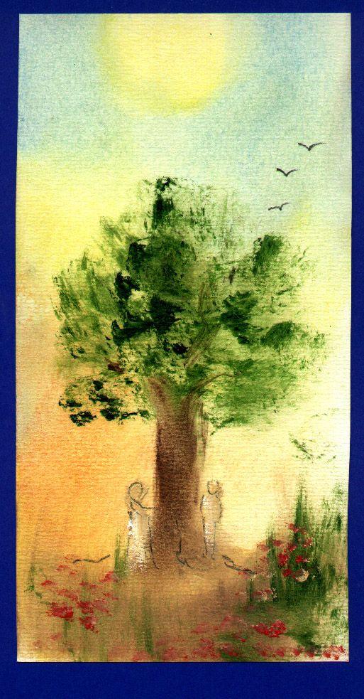 Snelle schets voor getuigschrift; olie op papier: Paradijs