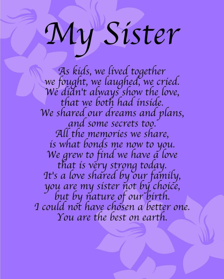 Personalised My Sister Poem Birthday Anniversay Leaving Christmas Gift Present