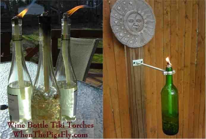 Diy citronella wine bottle tiki torch wine bottle tiki for Diy beer bottle tiki torches