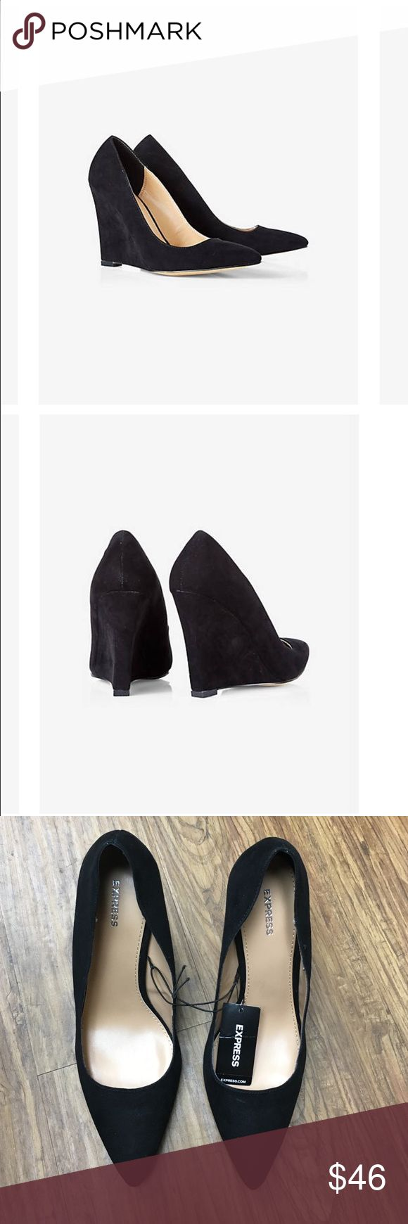 """Faux Suede Pointed Toe Wedge Pump NWT Pointed toe. Padded footbed, 3 3/4"""" covered wedge heel. Synthetic upper and sole Express Shoes Wedges"""