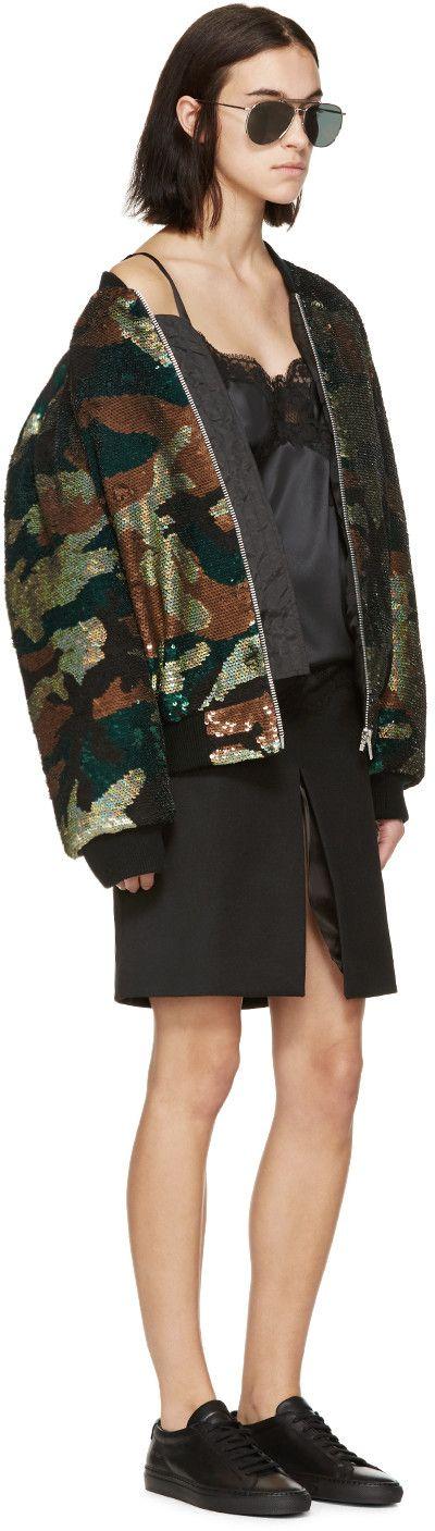 Ashish Green & Black Sequined Camo Bomber Jacket