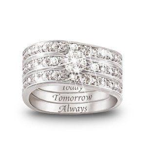 Anniversary: Diamonds Women, Ideas, Three Band Rings, Three Bands Rings, Engraving Diamonds, Jewelry, Wedding Rings, Hidden Messages, Today Tomorrow