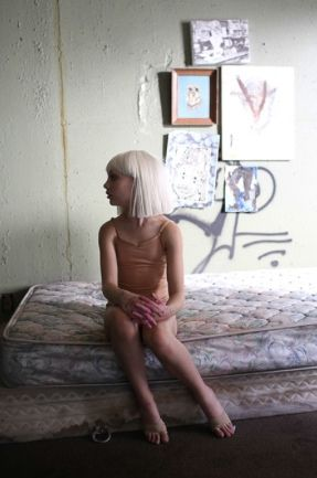 "Maddie Ziegler behind the scenes of Sia's music video ""Chandelier"" [2014]"