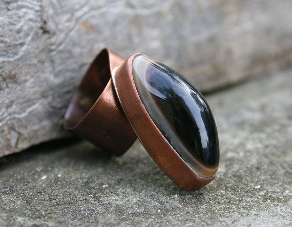 copper ring onyx ring gemstone ring handmade by Blacksmithworkshop