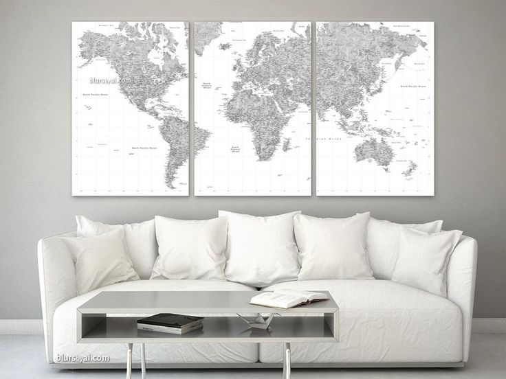 "Multi panel world map canvas print or push pin map, highly detailed world map with cities in grayscale watercolor. ""Jimmy"" #PinYourTravels #GrayscaleWatercolor #MapCanvasPrint #oversized #ExtraLargeMap #OversizedMap #OversizedMapPrint #HugeMap #MultiPanelMapCanvasPrint #CottonSecondAnniversaryGiftIdea"