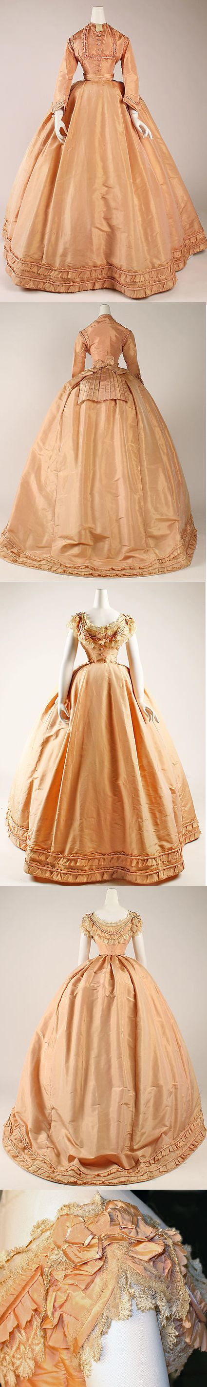 Metropolitan Museum of Art French pink silk taffeta dress with bodices for day and evening, circa 1864.