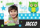 Kinderfeestje fotokaart uil