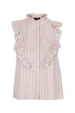 Sleeveless Ruffle Stripe Shirt