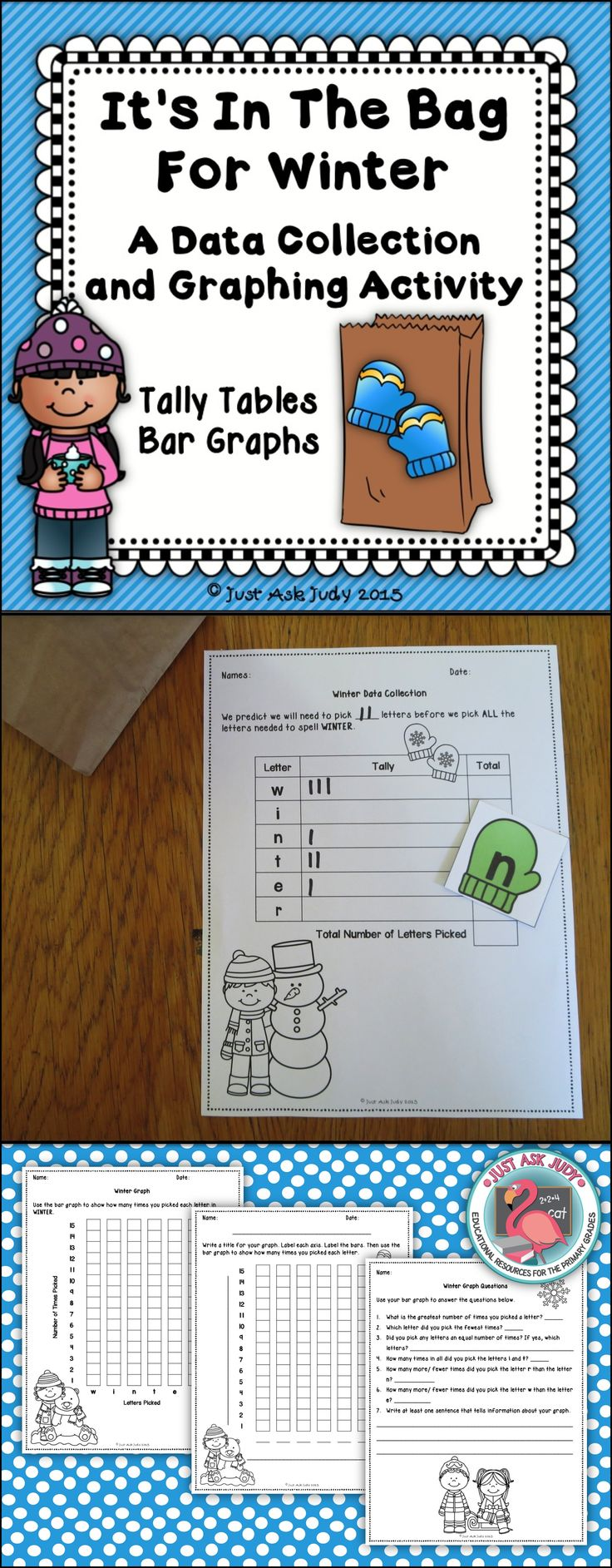 This seasonal activity engages your students in collecting data by picking and replacing the letters of a word in a paper lunch bag until all the letters have been picked. Then they use their collected data to complete a bar graph and answer questions. There are 3 seasonal, holiday, or national day words included for each month; December, January, and February. $ Grades 1-3