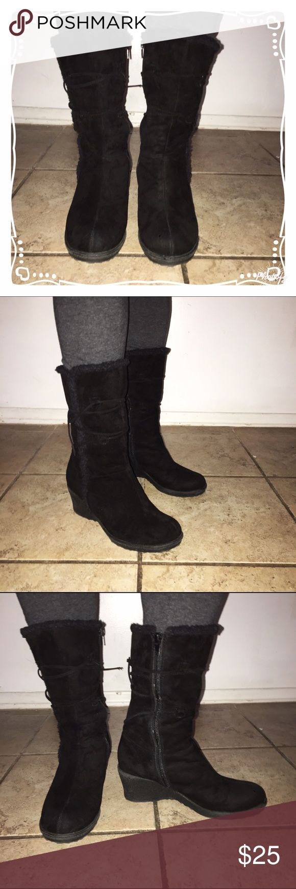 Black Suede Wedge Boots! 👢 Black suede boots with wedge heel and zipper on the side. Extremely comfortable! Used but in great condition. Heel is 2 1/2 inches high. No tears or marks. Shoes Heeled Boots