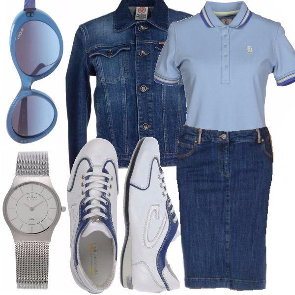 Originale outfit primaverile pensato per le più giovani. La giacca e la gonna, entrambe di jeans, si abbinano alla perfezione con le tonalità pastello della polo e degli occhiali da sole, per un look fresco e dal gusto particolare.