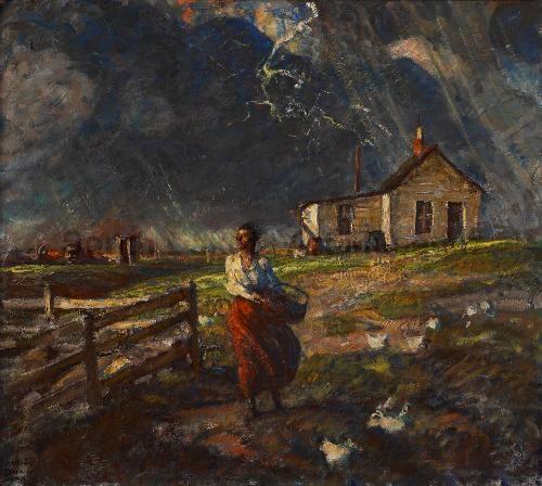 Harvey Dunn, Just a Few Drops of Rain, oil on canvas, 33.5 x 37.5 | South Dakota Art Museum