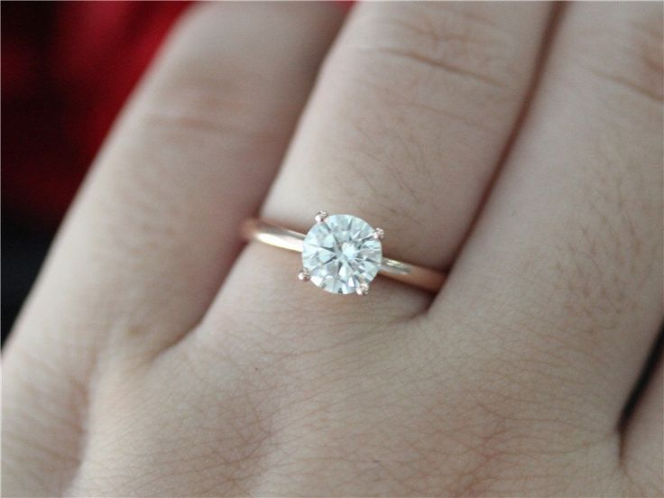 Unique Wedding Ring Solid 14K Rose Gold 1ct Round Cut Moissanite Engagement Ring/Bridal Ring/Promise Ring/Anniversary Ring/Plain Gold Ring by LeeCityDesign on Etsy https://www.etsy.com/listing/461051798/unique-wedding-ring-solid-14k-rose-gold