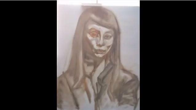 "Original artworks: #Liveportraits by #CarolineBergonzi.  Extract of the ""Caroline Bergonzi Creative Odyssey"" 400-page art book, available on @Amazon."