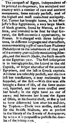"""""""Image of a contemporary newspaper report from 1801 of approximately three column inches describing the arrival of the Rosetta Stone in Engl..."""