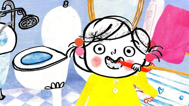 Lili børster tænder. Det kan hun nemlig sagtens selv. Hun lukker sig ude på badeværelset med Vovvov, og så går hun ellers i krig.