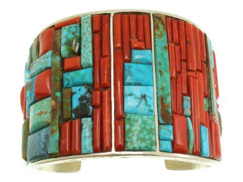 Monty Claw Tufa Cast Bracelet Coral Turquoise Inlay Navajo Silver | eBay