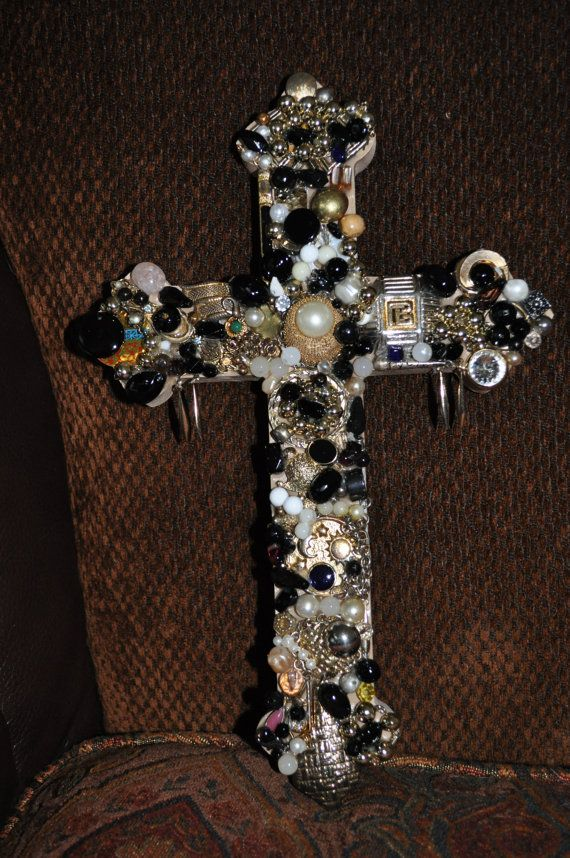 40 Handmade Jeweled Wooden Cross See My Other Crosses At