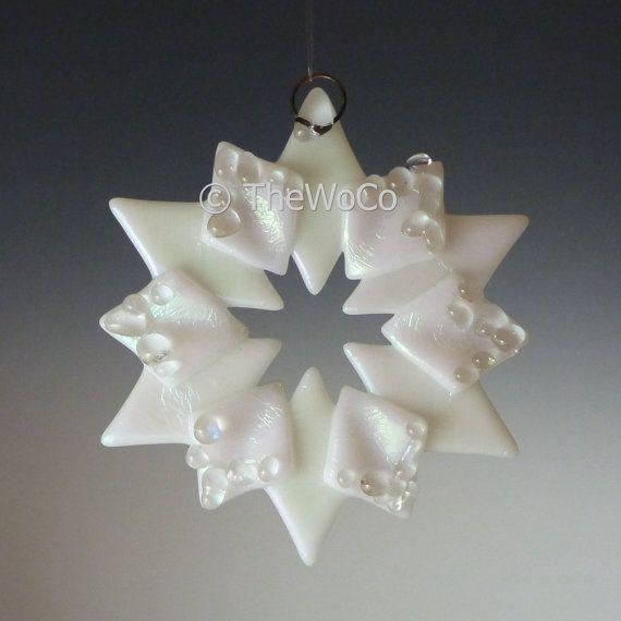SOLSTICE Crystalline White Iridized Snowflake, Fused Glass Ornament Suncatcher