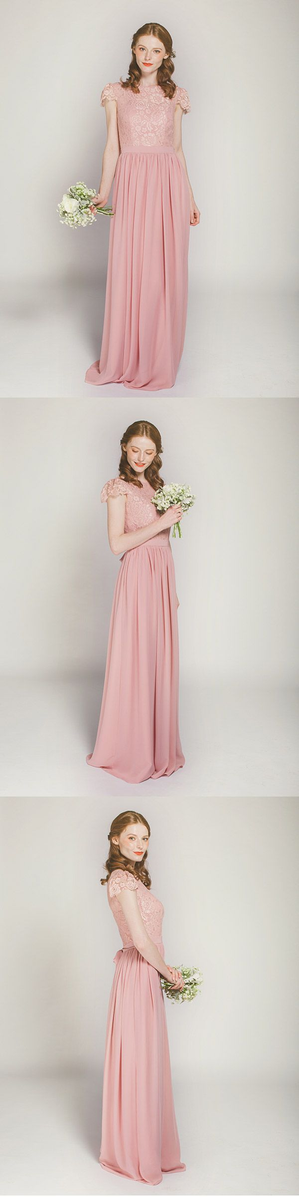121 best bridesmaid dresses images on pinterest bridesmaids elegant dusty rose lace and chiffon bridesmaid dress with cap sleeves swbd009 ombrellifo Images