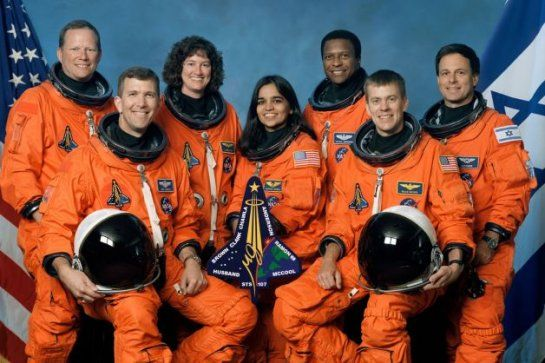 Take a moment today to remember our nation's fallen astronauts - SciGuy. Columbia: On Feb. 1, 2003, Columbia disintegrated over Texas and Louisiana as it reentered Earth's atmosphere due to damage sustained by its heat shield during takeoff. Astronauts on board were Rick Husband, William McCool, Michael Anderson, Ilan Ramon, Kalpana Chawla, David Brown and Laurel Blair Salton Clark.