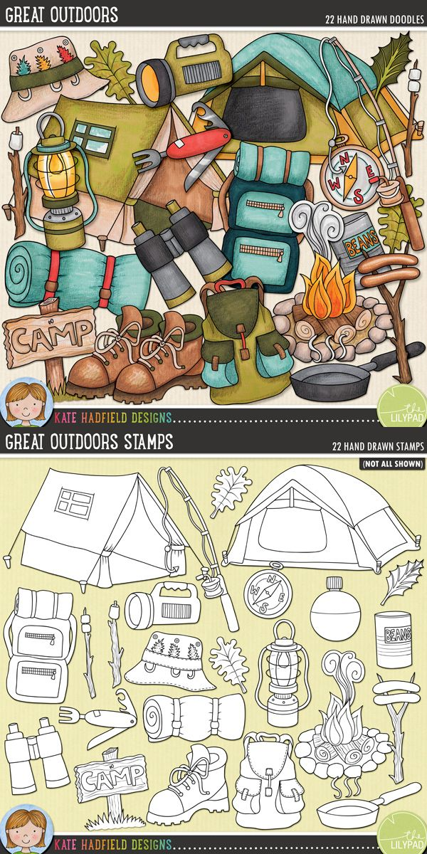 Camping digital scrapbooking elements | Cute camping & outdoors clip art | Hand-drawn doodles for digital scrapbooking, crafting and teaching resources from Kate Hadfield Designs! Click to see projects created using these illustrations!