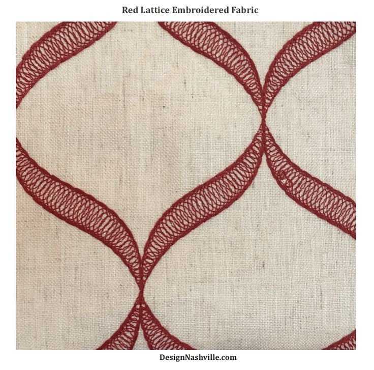 Red Lattice Embroidered Fabric. hill country, transitional decorating. linen blend fabrics. drapery fabrics