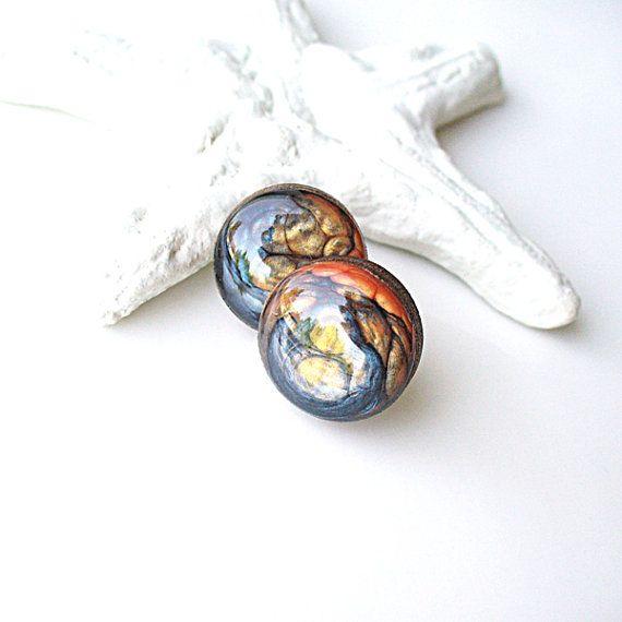 Navy Blue Earring Stud Earring Orange Earrings by StudioLadybird, $17.00