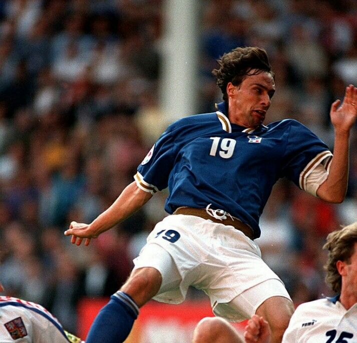 Czech Rep 2 Italy 1 in 1996 at Anfield. Enrico Chiesa equalises for Italy on 18 minutes in Group C at Euro '96.