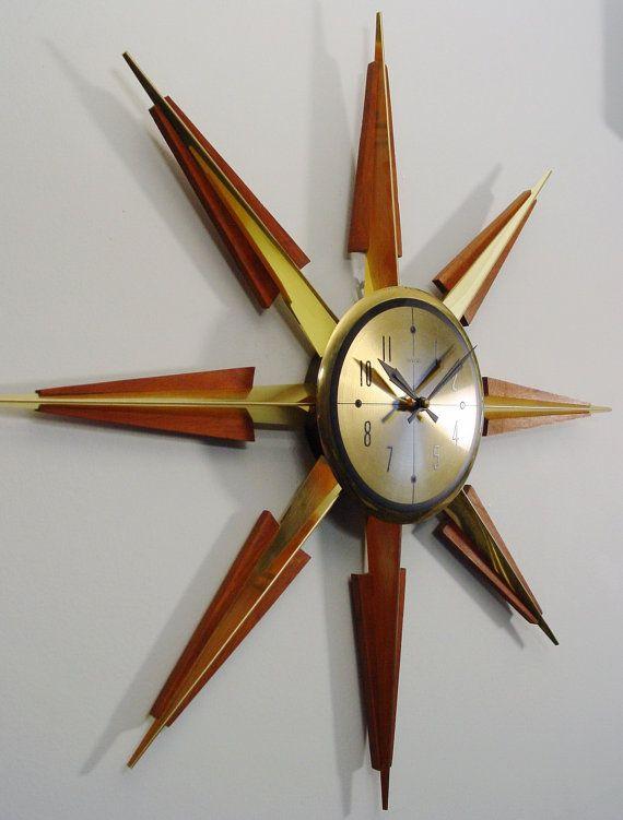 RESERVED for GREG - Starburst Wall Clock by Welby, Mid Century Modern,  Sunburst design