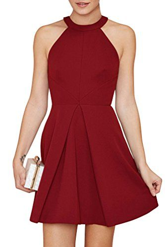 Special Offer: $19.99 amazon.com Size S = US 4 ; Size M = US 6 ; Size L = US 8 ; Size XL = US 10 ; Size XXL = US 12 New Arrival —– Halter Neck Fit and Flare Cocktail Dress Unique style, make you more beautiful, fashion, formal and elegant. Features Color: Black,Blue,Wine red...