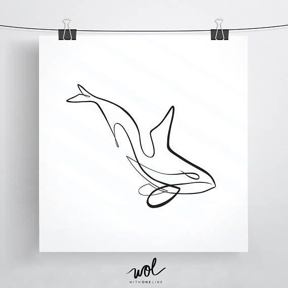 Orca-Kunst, Orca, drucken, Killerwal, Orca-Geschenk-Ideen, Killerwal Kunst, Wal-Kunstdruck, Meerestier, Minimal Art, Orca Zeichnung Orca