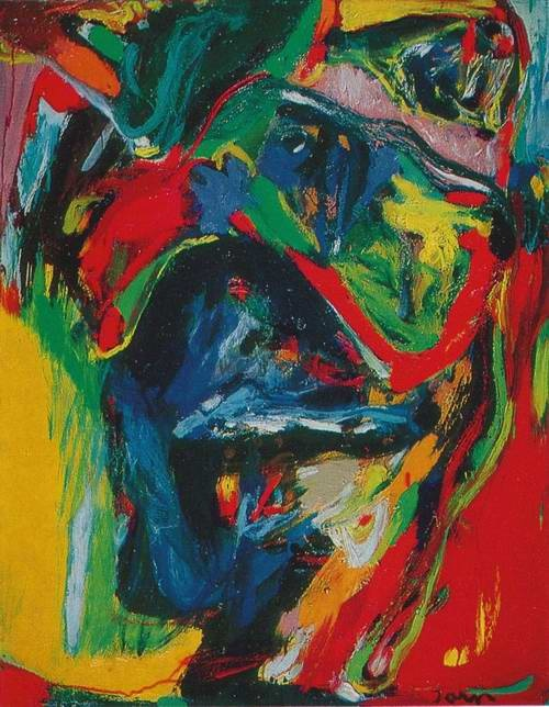 """Asger Jorn (1914-1973) was a Danish painter, sculptor, ceramic artist, author and a founding member of the avant-garde movement COBRA and the Situationist International. In 1941, he wrote the key theoretical essay, """"Intimate Banalities,"""" published in Helhesten, which claimed that the future of art was kitsch and praised amateur landscape paintings as """"the best art today."""" He was also the first person to translate Franz Kafka into Danish."""