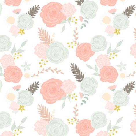 Summer blooms on white fabric by >>mintpeony<< on Spoonflower - custom fabric
