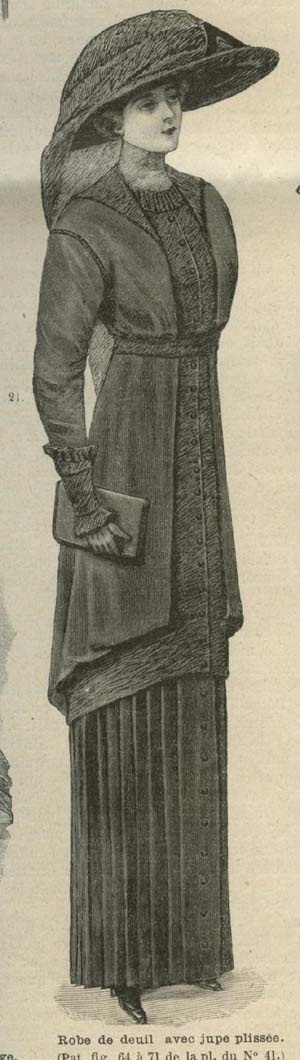 MODE ILLUSTREE PATTERN Oct 20,1912 robe de deuil avec jupe plissee