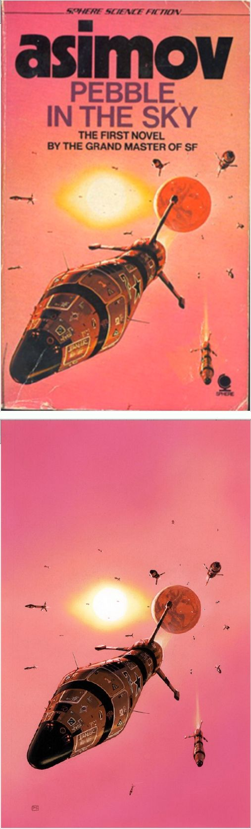 PETER ELSON - Pebble in the Sky by Isaac Asimov - 1974 Sphere Books - cover by isfdb - print by returntofleet.com