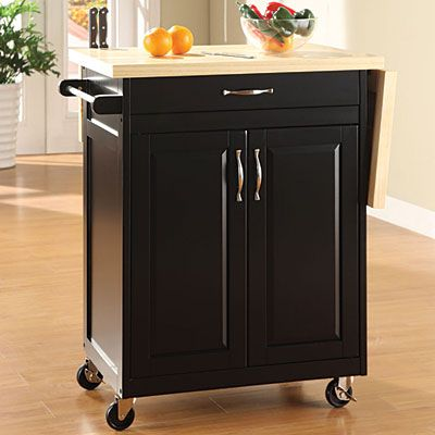 black finish kitchen cart with drop leaf fold up wood top expands work space features a. Black Bedroom Furniture Sets. Home Design Ideas