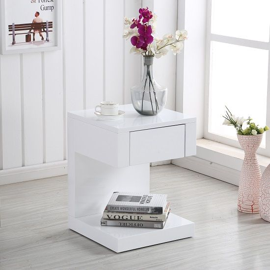 Dixon Bedside Table In White High Gloss With 1 Drawer