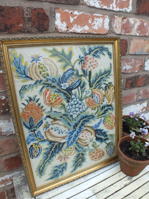 Traditional Framed Hand Embroidered Picture by LilacCottageWonders