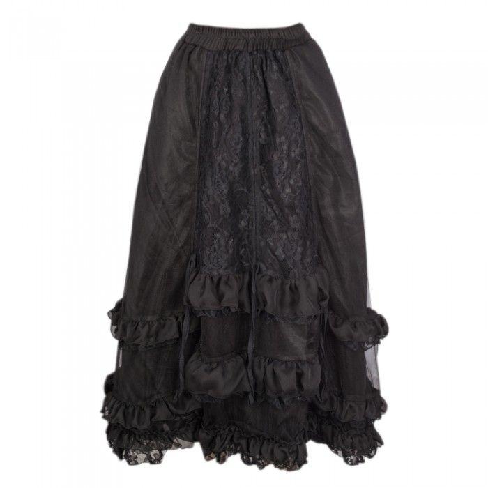 Black Full Length Gothic Skirt