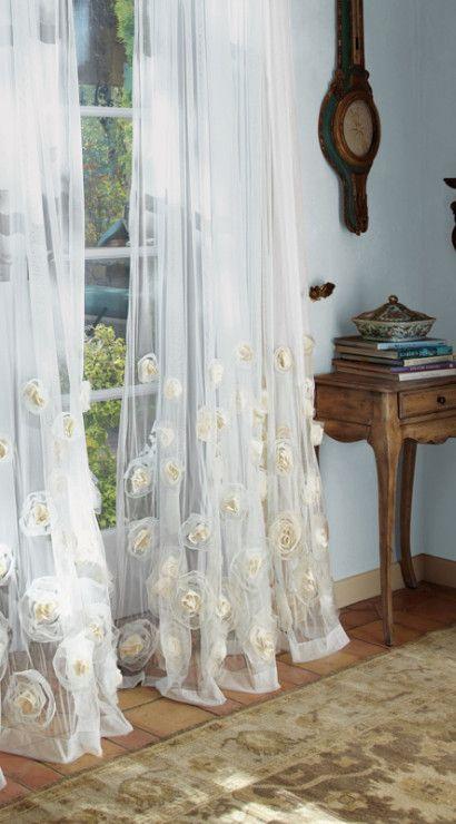 Annalisa Sheer Panel - Sheer Rose Curtains, Drapes With Chiffon And Organza Roses, Window Coverings   Soft Surroundings