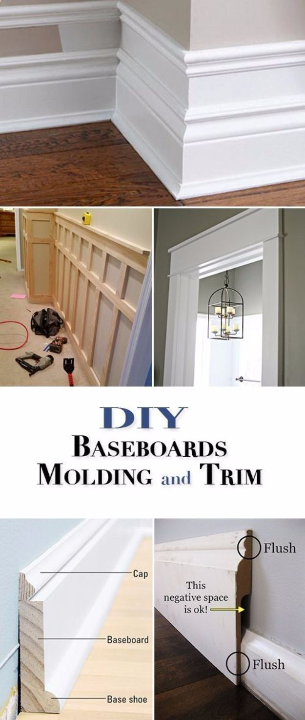 DIY Home Improvement On A Budget - DIY Baseboards, Molding and Trim - Easy and Cheap Do It Yourself Tutorials for Updating and Renovating Your House - Home Decor Tips and Tricks, Remodeling and Decorating Hacks - DIY Projects and Crafts by DIY JOY diyjoy.com/... #homeimprovementtricks