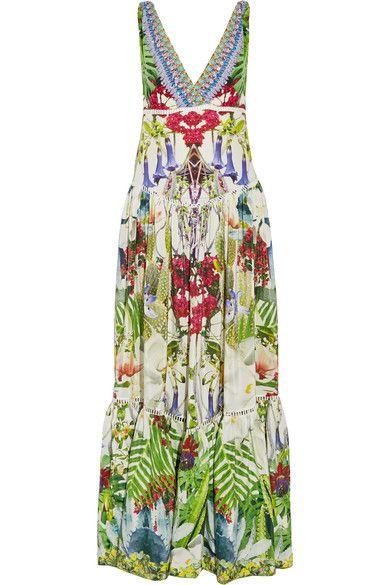 Camilla - Exotic Hypnotic Crystal-embellished Silk Crepe De Chine Maxi Dress - Green - UK